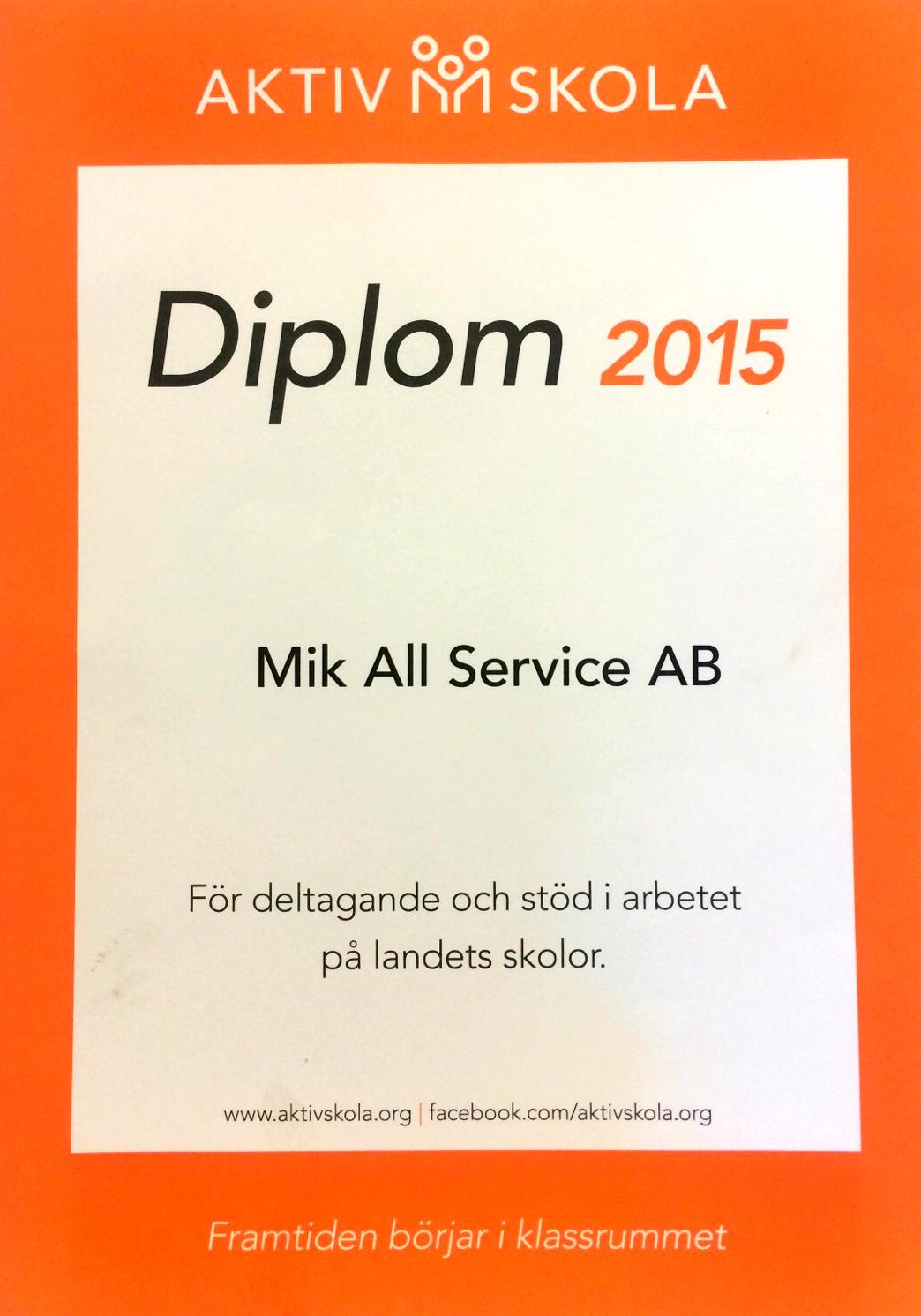 MIK ALL Service AB sponsrar Aktiv Skola