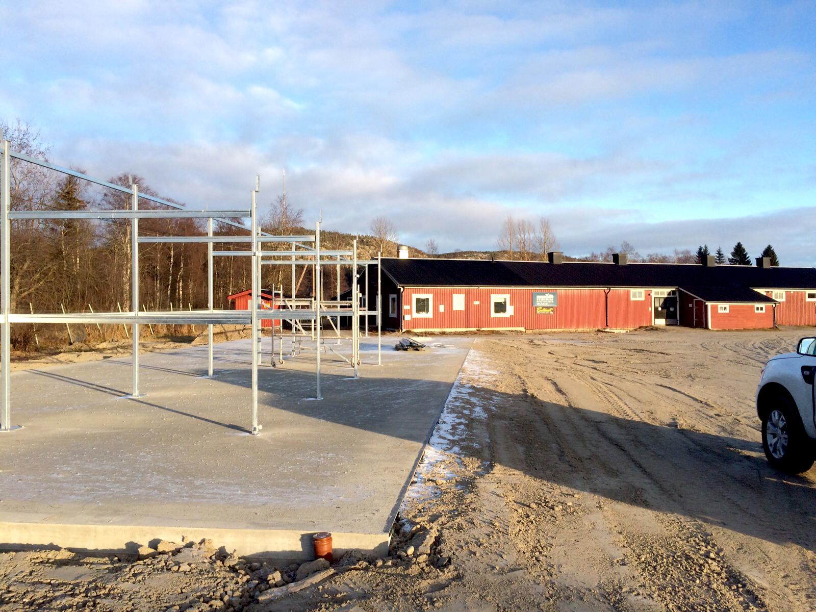 Personal från MIK ALL Service bygger ett ute stall på Solänget med 18 nya boxar.