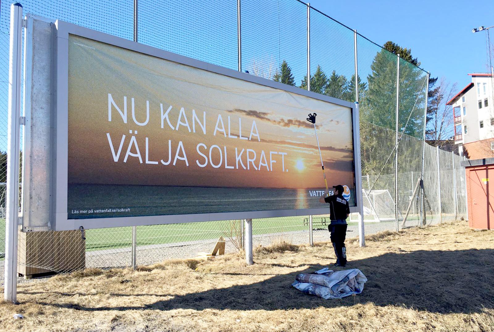 Affischering i Umeå, MIK ALL Service AB. Vattenfall