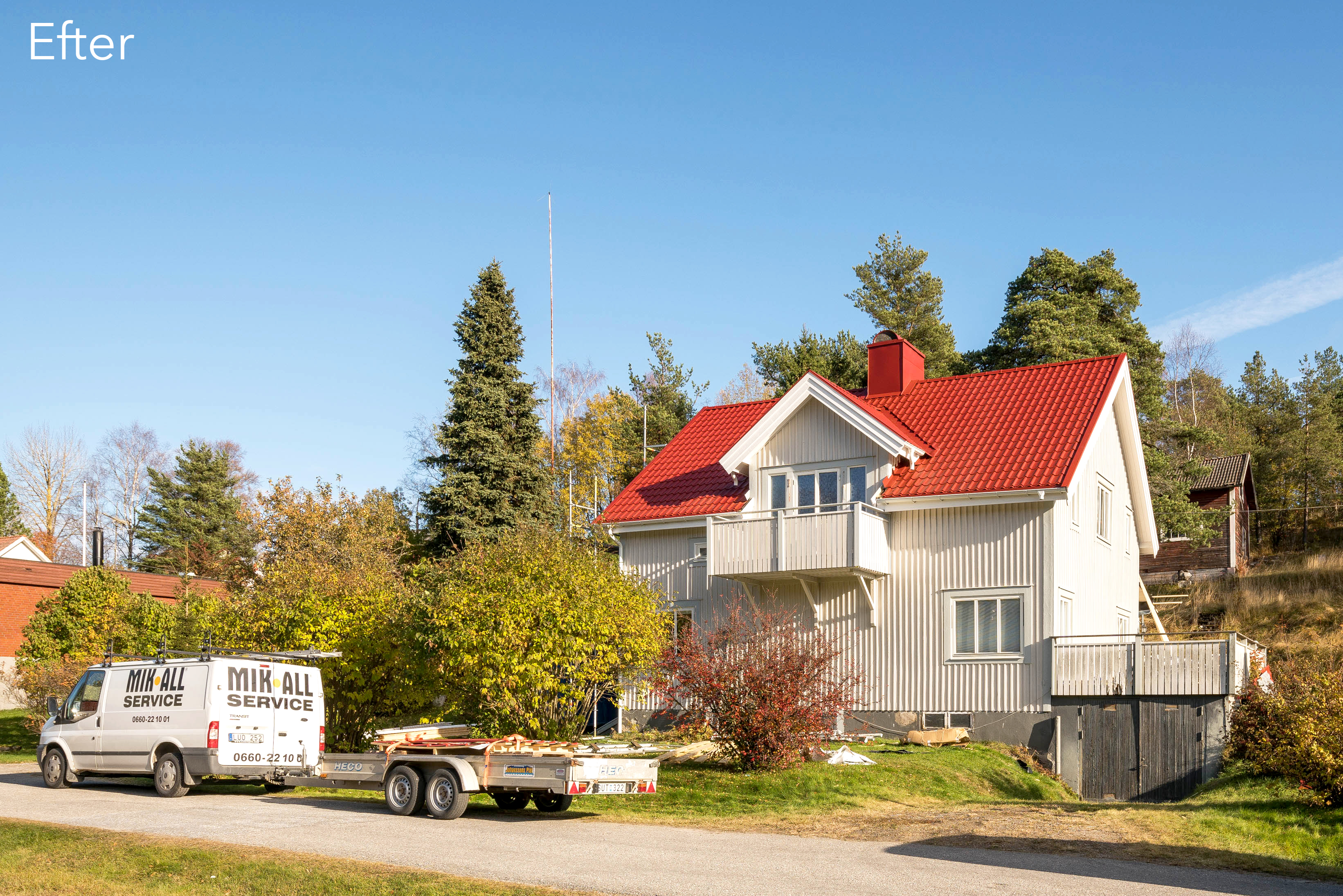 Efterbild på ett takbyte och fasbyte, samt fasadmålning som tjänstevaruhuset har gjort. MIK ALL Service AB